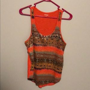 EXPRESS. Aztec, sequin tank. Coral base color